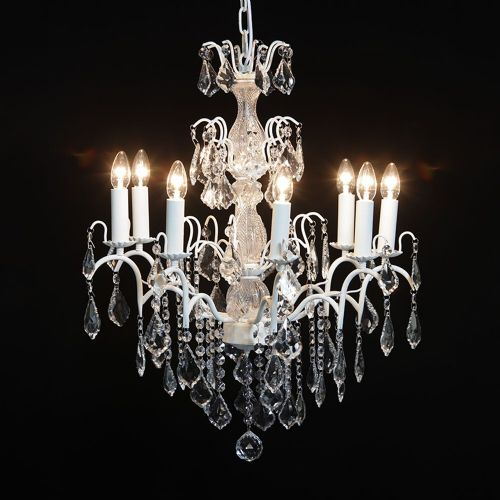 Antique French Cut Glass Crackle White Chandelier 8 arm